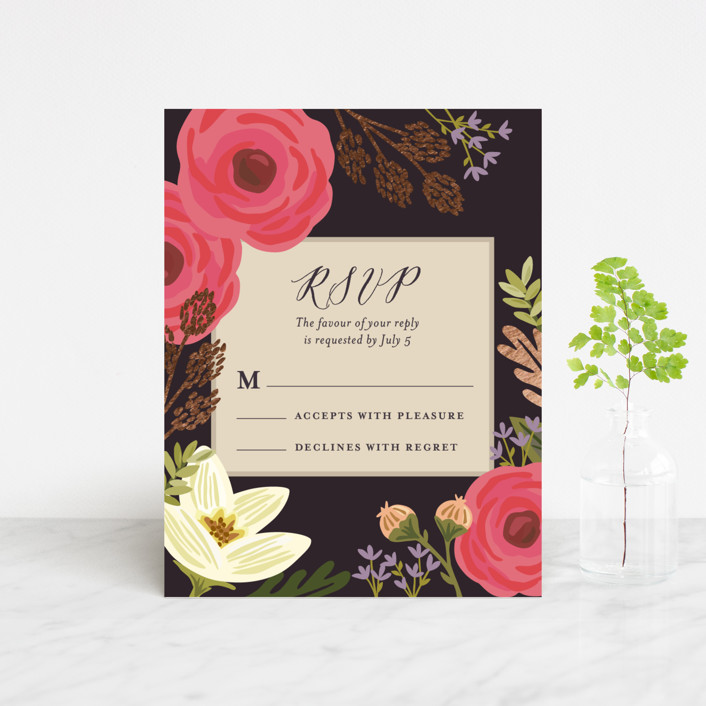"""""""Rhapsody"""" - Foil-pressed Rsvp Cards in Peony by Griffinbell Paper Co.."""