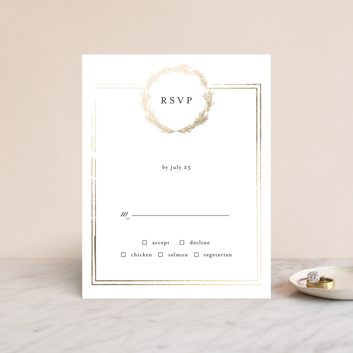 """""""Little Wreath"""" - Foil-pressed Rsvp Cards in Pearl by Phrosne Ras."""
