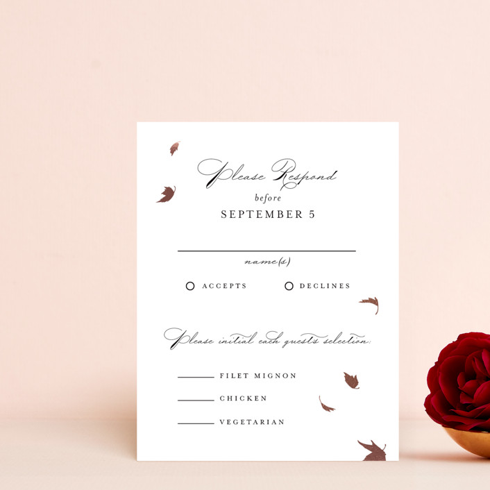 """""""Pirouette"""" - Rustic Foil-pressed Rsvp Cards in Noir by Kimberly FitzSimons."""