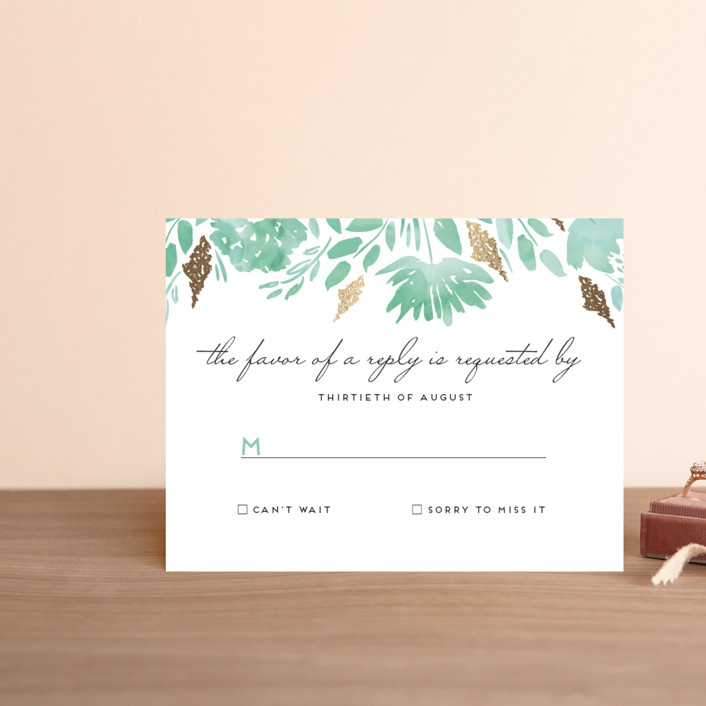 """Watercolor Delight"" - Floral & Botanical Foil-pressed Rsvp Cards in Aqua by Petra Kern."