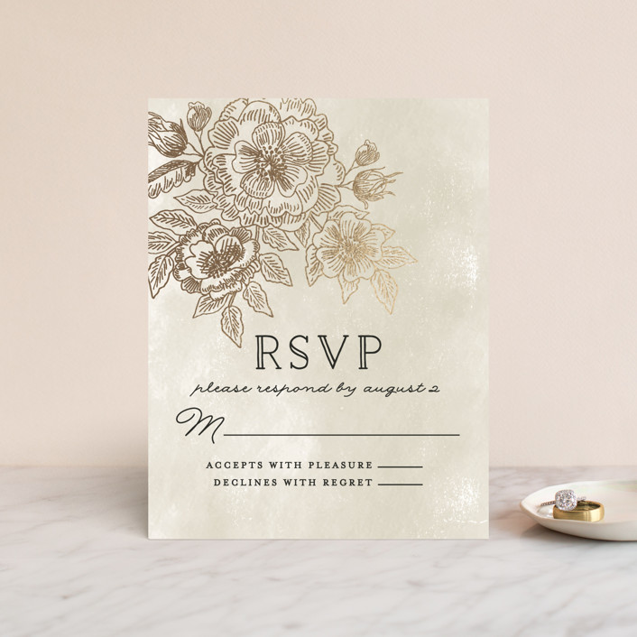 """Wedding Etching"" - Foil-pressed Rsvp Cards in Tea by Chris Griffith."