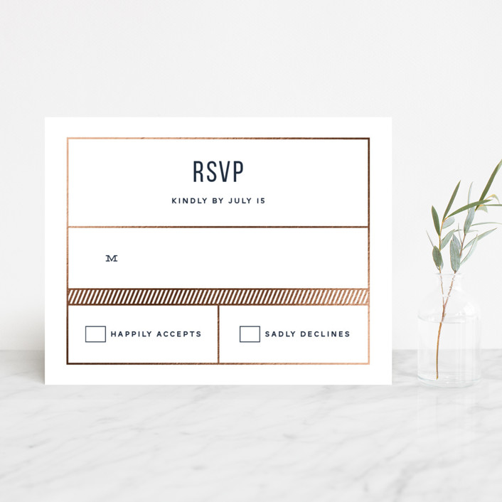 """""""Nautical By Nature"""" - Modern Foil-pressed Rsvp Cards in Navy by Dana Beckwith."""