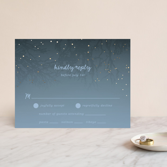 """""""Night In The Forest"""" - Rustic Foil-pressed Rsvp Cards in Indigo by 2birdstone."""