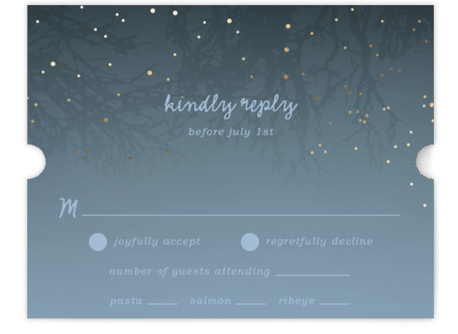 This is a landscape rustic, blue RSVP Cards by 2birdstone called Night In The Forest with Foil Pressed printing on Signature in Card Flat Card format. The romance of an indigo night sky dotted with fireflies is undeniable and sets ...