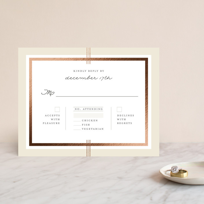 """Three Classic Lines"" - Formal, Classical Foil-pressed Rsvp Cards in Barley by fatfatin."