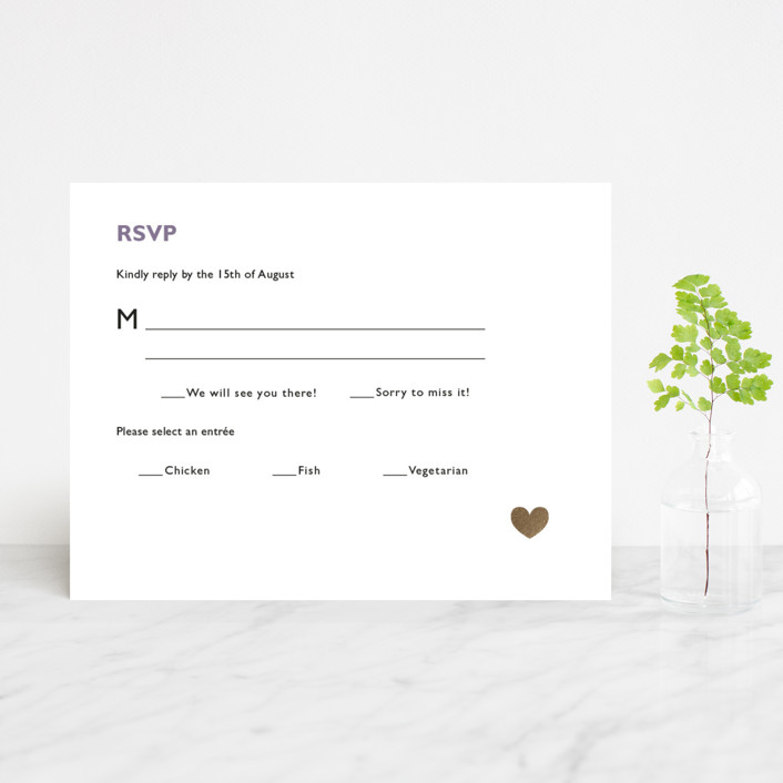 """""""Destination"""" - Foil-pressed Rsvp Cards in Lilac Haze by leslie hamer."""
