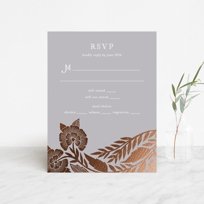 """""""Block Printed Border"""" - Foil-pressed Rsvp Cards in Cement by Katharine Watson."""