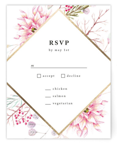 This is a botanical, painterly, pink, colorful, gold RSVP Cards by Poi Velasco called Ascent with Foil Pressed printing on Signature in Card Flat Card format. Painted flowers with diamond foil border