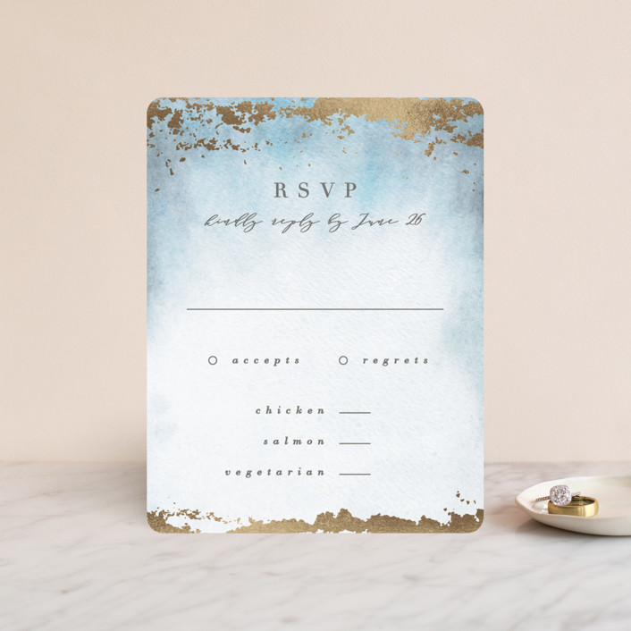 """Ethereal Wash"" - Bohemian Foil-pressed Rsvp Cards in Ocean by Everett Paper Goods."