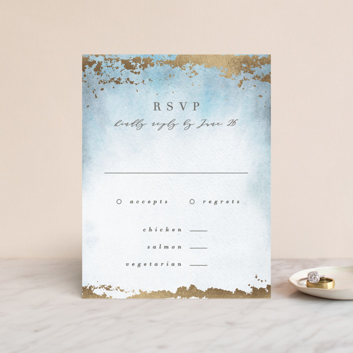 """Ethereal Wash"" - Modern Foil-pressed Rsvp Cards in Ocean by Everett Paper Goods."