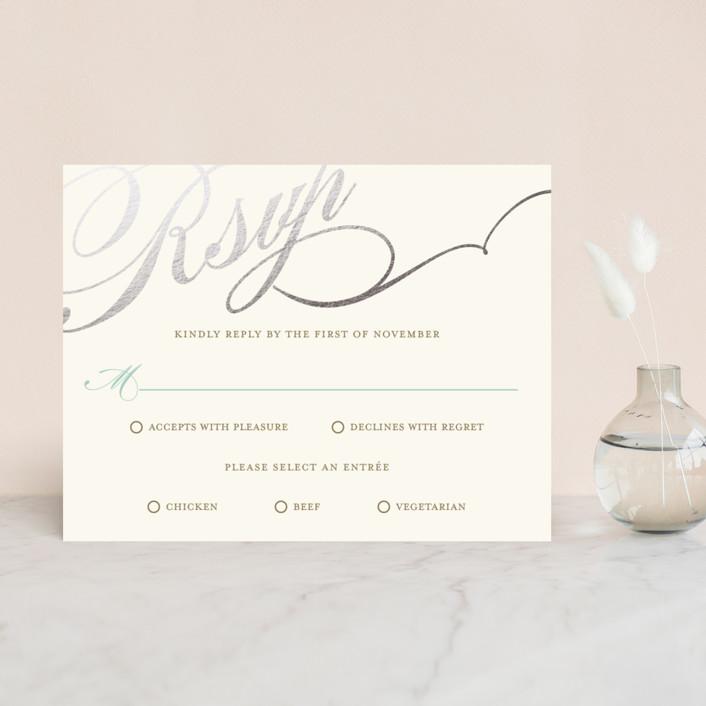 """Winter Flourish"" - Elegant, Formal Foil-pressed Rsvp Cards in Robin's Egg Blue by annie clark."