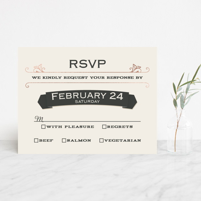 """A Blessed Union"" - Vintage, Bold typographic Foil-pressed Rsvp Cards in Cream by GeekInk Design."