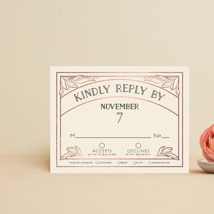 """Halcyon"" - Foil-pressed Rsvp Cards in Rose Gold by GeekInk Design."