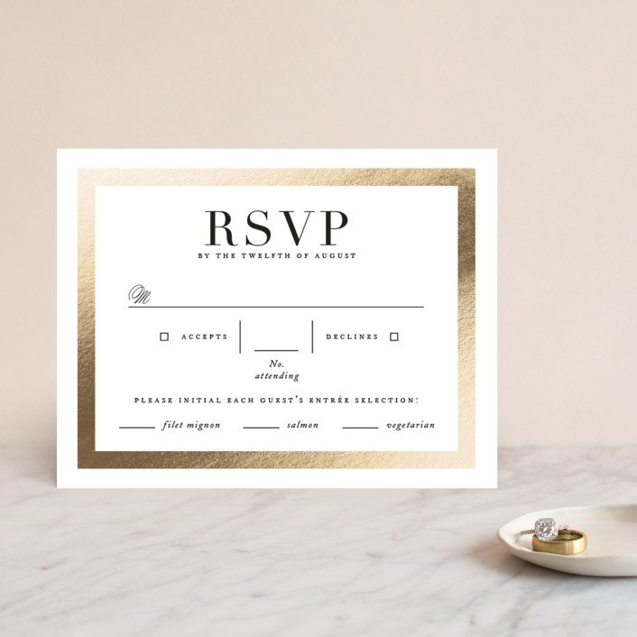 """Deluxe"" - Foil-pressed Rsvp Cards in Tuxedo by Jennifer Postorino."