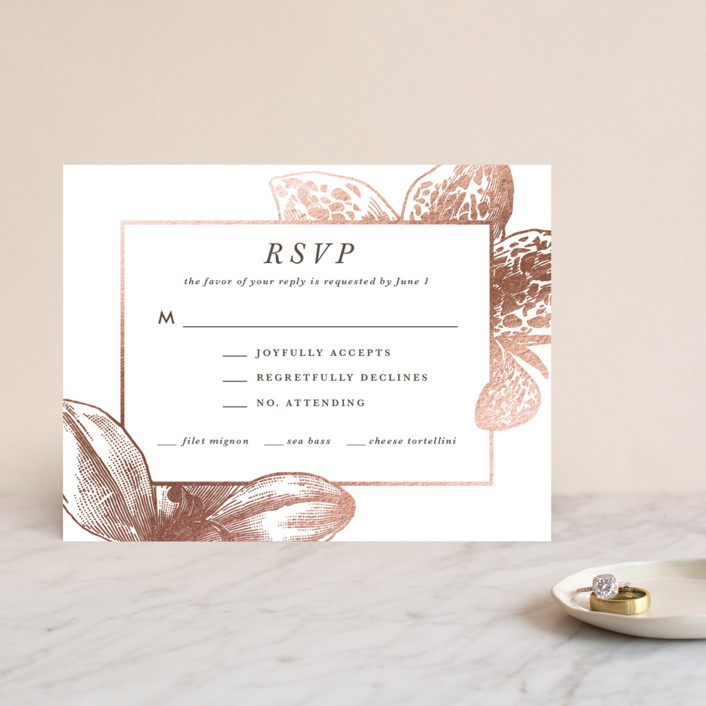 """""""Wild Blooms"""" - Foil-pressed Rsvp Cards in Poppy by Christie Kelly."""