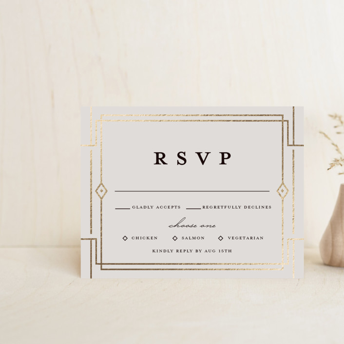 """""""Social Distancing"""" - Vintage Foil-pressed Rsvp Cards in Midnight by Katie Zimpel."""