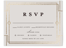 This is a black rsvp card by Katie Zimpel called Social Distancing with foil-pressed printing on signature in standard.