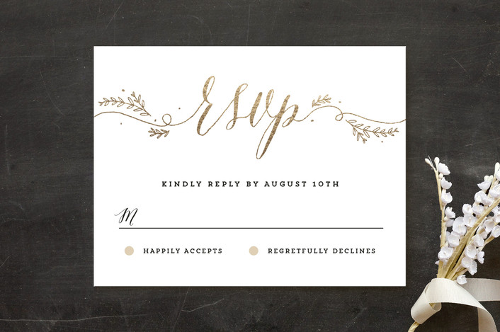 """Classic Garden Flourish"" - Rustic Foil-pressed Rsvp Cards in Gold by Kelly Schmidt."