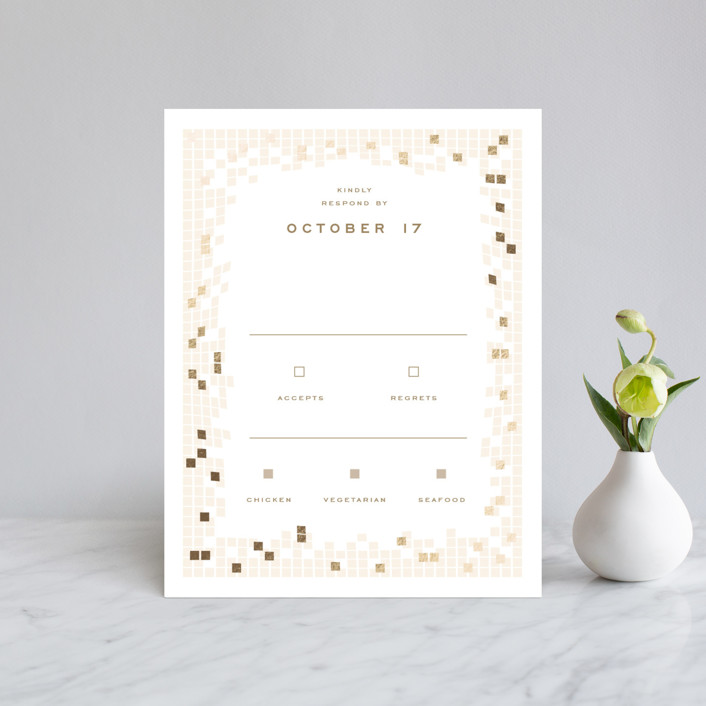 """Mosaic Waves"" - Modern Foil-pressed Rsvp Cards in Cream by fatfatin."