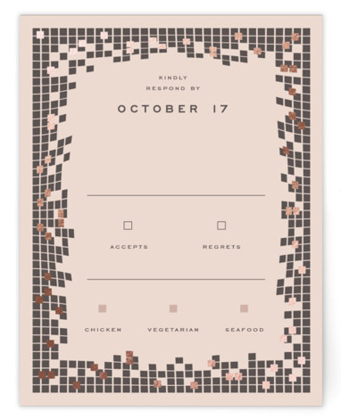 This is a modern, painterly, brown, rosegold RSVP Cards by fatfatin called Mosaic Waves with Foil Pressed printing on Signature in Card Flat Card format. A modern and chic design featuring a stylish mosaic pattern and a simple layout