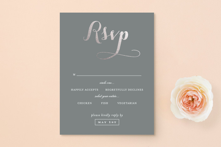 """Just Lovely"" - Classical, Simple Foil-pressed Rsvp Cards in Grey Chalkboard by Sara Hicks Malone."
