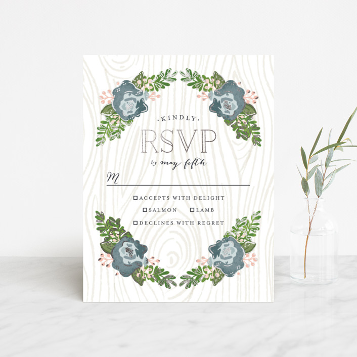 """""""Rustic Wooded Romance"""" - Rustic Foil-pressed Rsvp Cards in Bluebell by Pistols."""