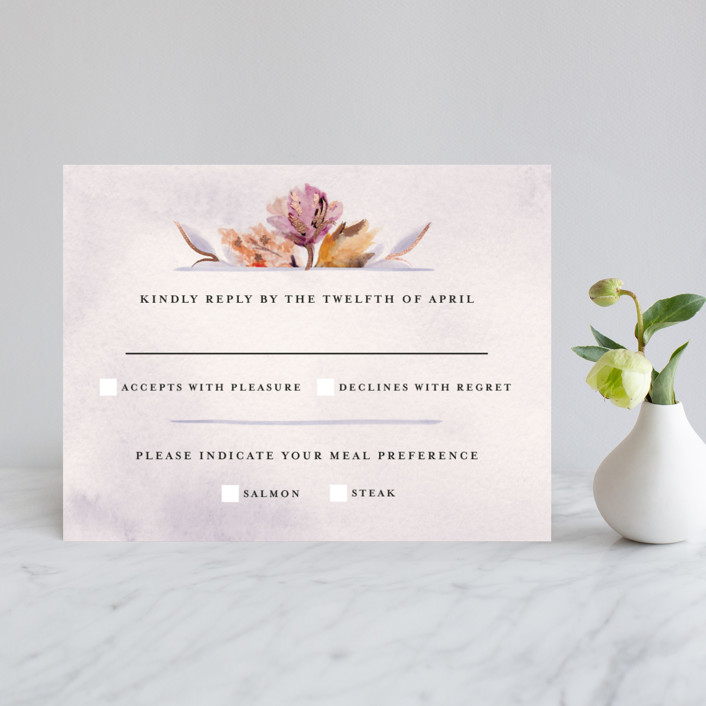 """""""Grecian Floral"""" - Foil-pressed Rsvp Cards in Rose Gold by Olivia Kanaley."""