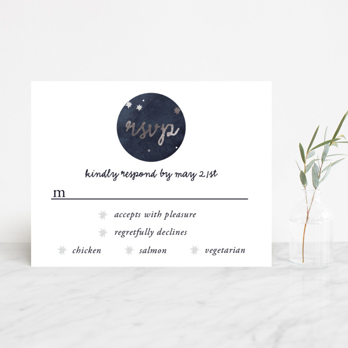 """Constellations"" - Foil-pressed Rsvp Cards in Deep Blue by SimpleTe Design."