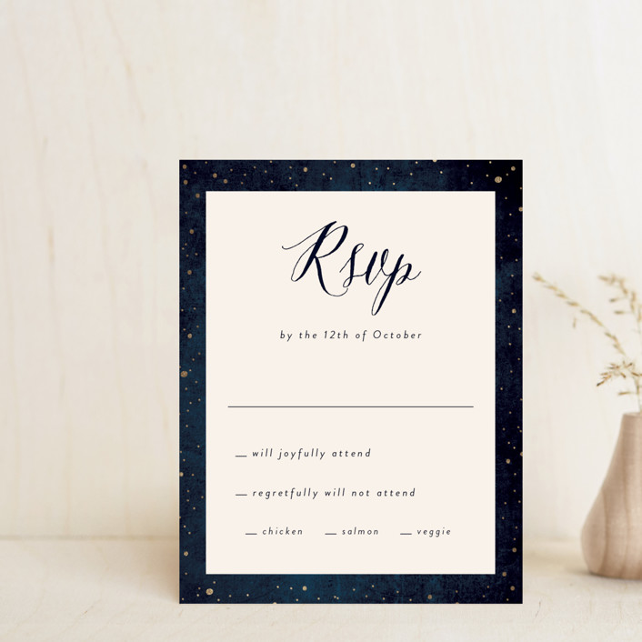 """""""Outside"""" - Rustic Foil-pressed Rsvp Cards in Navy by Rebecca Bowen."""