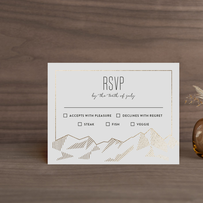 """Mountain Vista"" - Modern Foil-pressed Rsvp Cards in Mist by Rebecca Daublin."