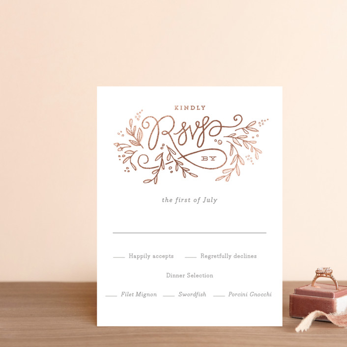 """Rolling Names"" - Rustic Foil-pressed Rsvp Cards in Rose Gold by Jennifer Wick."