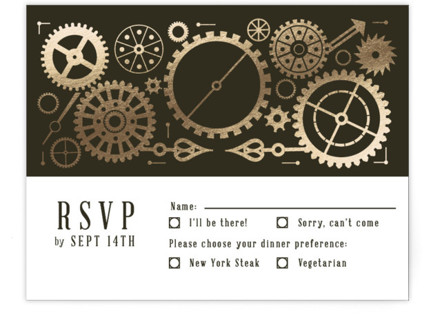 Steampunk Foil-Pressed RSVP Cards