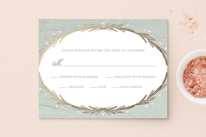 """Winter Wreath"" - Rustic Foil-pressed Rsvp Cards in Sage by Kelly Nasuta."