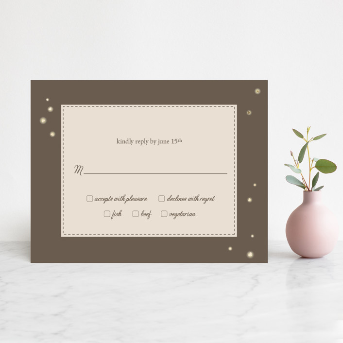 """""""Fireflies"""" - Foil-pressed Rsvp Cards in Zuni Brown by Paige Rothhaar."""