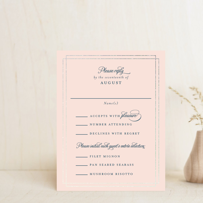 """""""Chic Gala"""" - Classical Foil-pressed Rsvp Cards in Cotton Candy by Kimberly FitzSimons."""