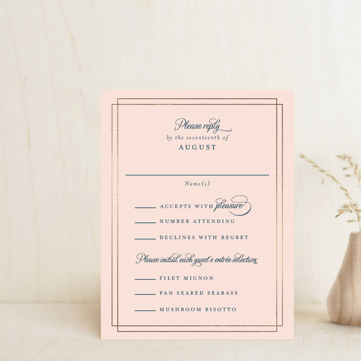 """Chic Gala"" - Classical Foil-pressed Rsvp Cards in Cotton Candy by Kimberly FitzSimons."