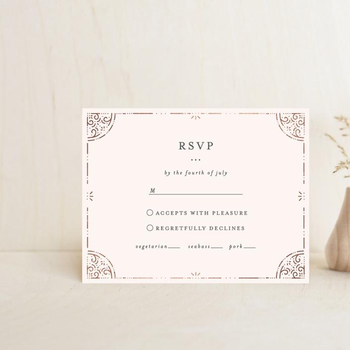 """""""Foil Frame"""" - Foil-pressed Rsvp Cards in Rose Gold by Bethan."""