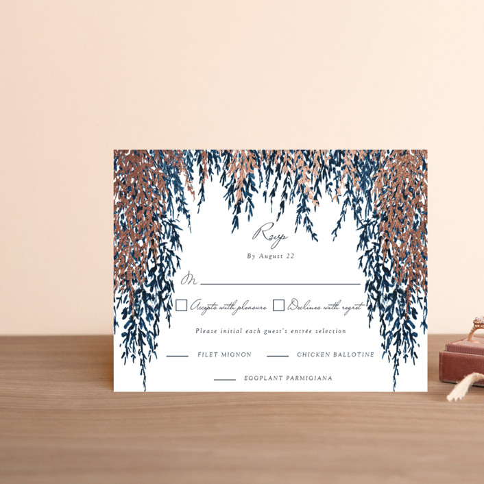 """In Love"" - Foil-pressed Rsvp Cards in Cobalt by Elly."