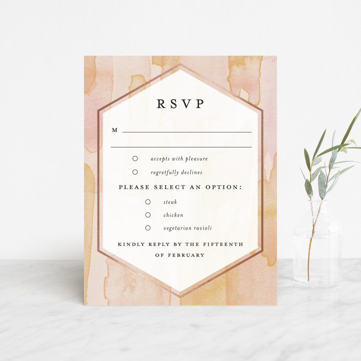 """""""Sunset Watercolor"""" - Foil-pressed Rsvp Cards in Sherbet by Everett Paper Goods."""