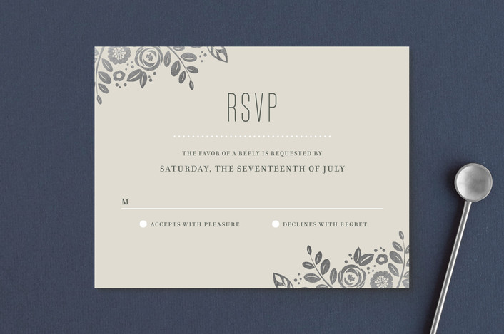 """""""White Shadows"""" - Foil-pressed Rsvp Cards in Champagne by Jessica Williams."""