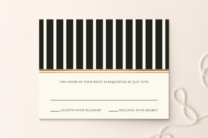 """Modern Classic"" - Modern Foil-pressed Rsvp Cards in Gold by annie clark."