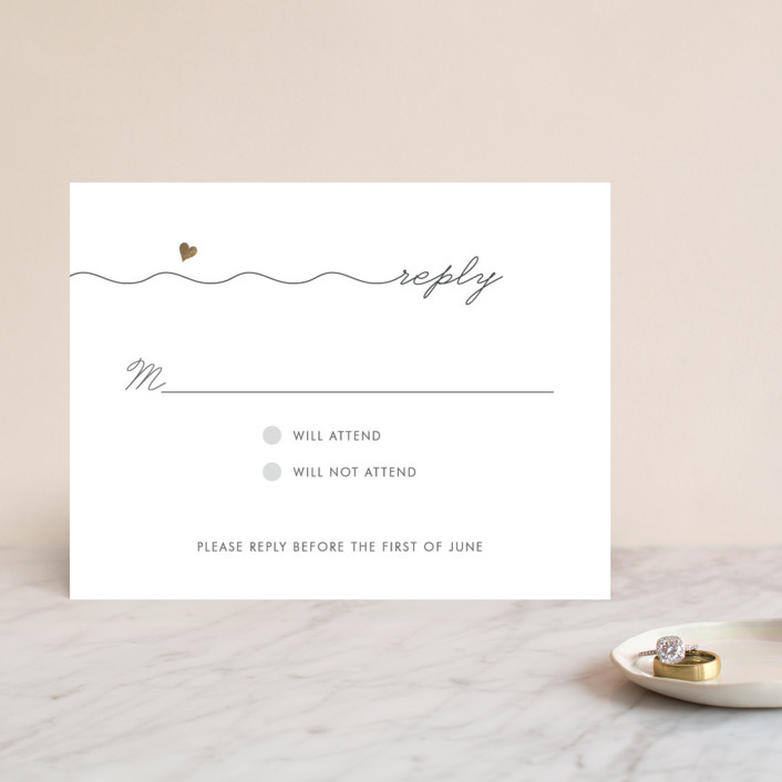 """""""Love Connection"""" - Whimsical & Funny Foil-pressed Rsvp Cards in Gold by Kim Dietrich Elam."""