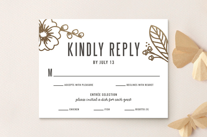 """Modern Botanicals"" - Foil-pressed Rsvp Cards in Lily by Natalie Nakai."
