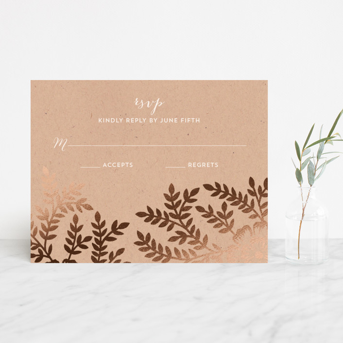 """Leaves and Kraft"" - Rustic Foil-pressed Rsvp Cards in Warm Kraft by Katharine Watson."