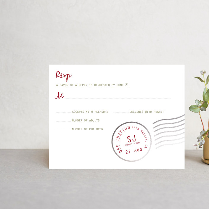 """A Faraway Destination"" - Foil-pressed Rsvp Cards in Deep Red by bumble ink."