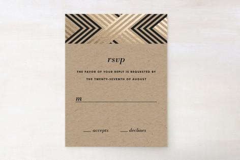 Braided Chevron Foil-Pressed RSVP Cards