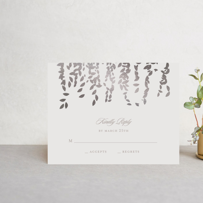 """Cascade"" - Elegant, Formal Foil-pressed Rsvp Cards in Mist by Lori Wemple."