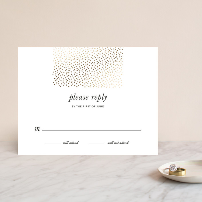 """Delicate Dots"" - Modern Foil-pressed Rsvp Cards in Gold by Ashley Hegarty."