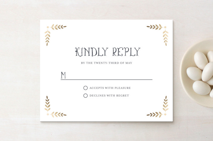 """Glittered Monogram"" - Rustic Foil-pressed Rsvp Cards in Gold by Erin Deegan."