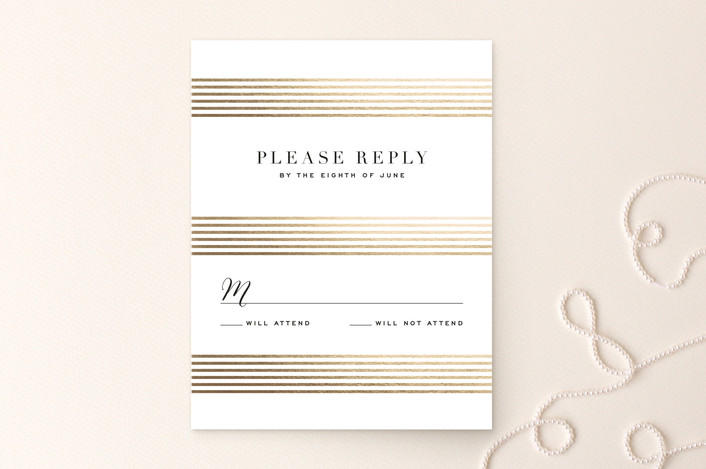 """""""Gold Notes"""" - Foil-pressed Rsvp Cards in Midnight by Carrie ONeal."""